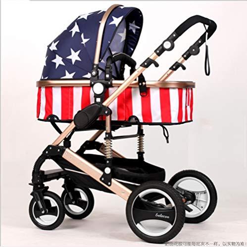 QZX 2 in 1 Kinderwagen Verstellbarer Kinderwagen Travel System Buggy mit Stoßdämpfer -Anwendbares Alter 1-3 Jahre, 6-12 Monate, 0-6 Monate,captainamerican