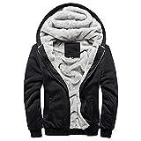 Minetom Homme Hiver Chaud Polaires Doublé Sweats à Capuche Cotton Manteaux Doux Blousons Sweat-shirts Outwear Tops (EU L, Noir)