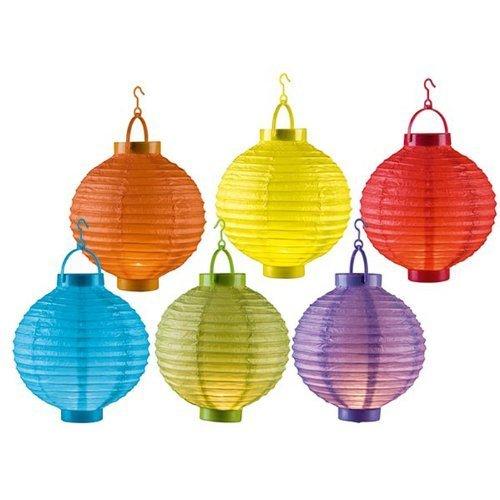 6er Set Papier Laternen LED Licht Ø20cm kabellos Papierlaterne Laternen Lampions Garten Ballon Papierlampion