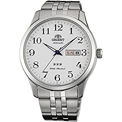 Orient Men's 43mm Steel Bracelet & Case Automatic White Dial Analog Watch FAB0B002W9