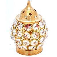 Hashcart Decorativo latón Diya Akhand Diamond Nag de Profundidad diámetro en Forma Ovalada para decoración del hogar/Regalo/Puja, latón, Dorado, Oil Lamp/Diya - 4.5 Inch
