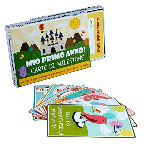 Cartes Pour Chaque Grand Moment de la Vie de Bébé en Anglais - Pack de 40 Cartes Illustrées Colorées avec Belle Boîte Cadeau - Cadeau Parfait pour Bébé ou Fête Prénatale