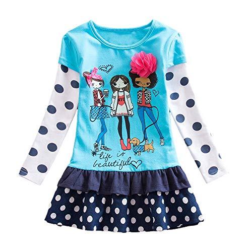 squarex Mädchenkleid mit Langen Ärmeln und Blumenmuster, für Mädchen, Partykleid 6-7Jahre blau