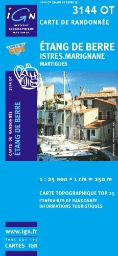 Top25 3144OT ~ Etang de Berre, Istres, Marignane carte de randonnée avec une règle graduée gratuite