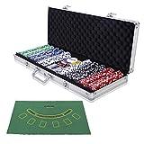 COSTWAY Malette Poker Jetons Poker Ensemble de 500 Jetons 2 Jeux de Cartes 5 Dés 1 Bouton Dealer...