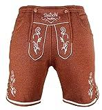 Kurze Lederhosen Jogginghose Bestickt, 4x große Hosentaschen - flauschig weich - Herren Trachten-Hose für Oktoberfest oder Alltag - Bayrische Hose in Lederhosenoptik (XL, Braun)