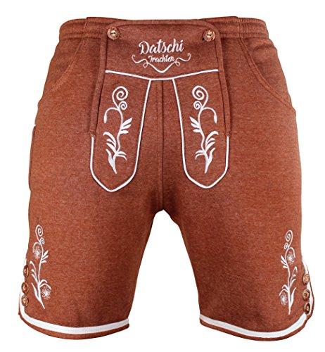 Kurze Lederhosen Jogginghose Bestickt, 4x große Hosentaschen - flauschig weich - Herren Trachten-Hose für Oktoberfest oder Alltag - Bayrische Hose in Lederhosenoptik (L, Braun)