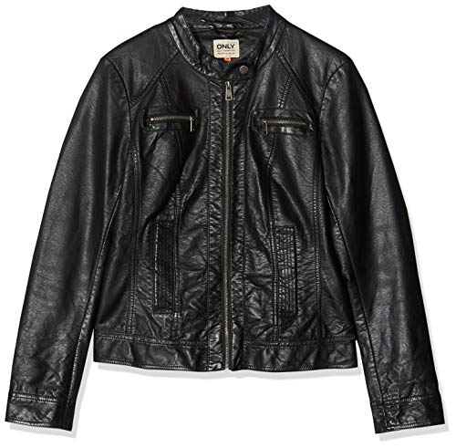 ONLY Damen Bandit PU Biker Jacke, Schwarz (Black C-N10), 34 (XS)