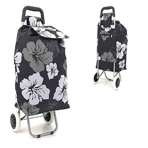 Zusammenklappbarer Einkaufstrolley mit großen Rädern, stark, wasserdicht, leicht Schwarz Black & White Floral Large