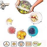 Tapas de Silicona Cocina, MeetYours Durable Reutilizables Silicona Stretch Tapas Alimentos Cubiertas para Cuencos Vasos de Tazas, BPA Libre, Microondas Lavavajillas Congelador caja Fuerte, Paquete de 6 (blanco)