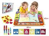 BENGO Aqua Malmatte Wasser Color 80x60CM,Doodle Matte für Kinder Doodle Spiel 4 Doodle Zusatzstift mit Stempelset