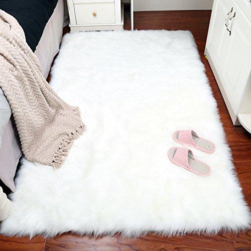 SangreAzul Pure Farbe Einfacher Plüsch-Teppich,InnenaußenberEich Teppich Dauerhafter Kleiner Mat Rechteckiger Moderner Einfacher Sauberer Teppich-Weiß 60x90cm(24x35inch) - Saubere Jute-teppich