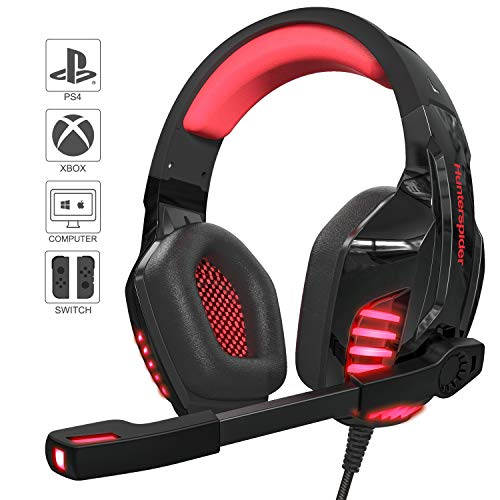 Cuffie da Gioco V6 Cuffie Gaming Insonorizzate con Microfono Omnidirezionale Audio Jack da 3,5 mm con Cavo USB Compatibile con PC / PS4 / Xbox One X e S/Smartphone/Nintendo Switch Cavo 2.2metri