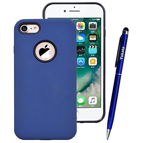 Yokata Cover per iPhone 7 Plus Custodia per iPhone 7 Plus gel Silicone Case Durevole TPU Backcover Protettiva Caso Premium Ultra Sottile Bumper Antiurto Protezione Shell + Penna - Verde menta Blu navy