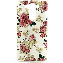 LG G3S TPU Case,Funda de Gel Soft Silicona TPU Carcasa para LG G3S/G3 mini/G3 Beat Back Case Cover-Flor rosa