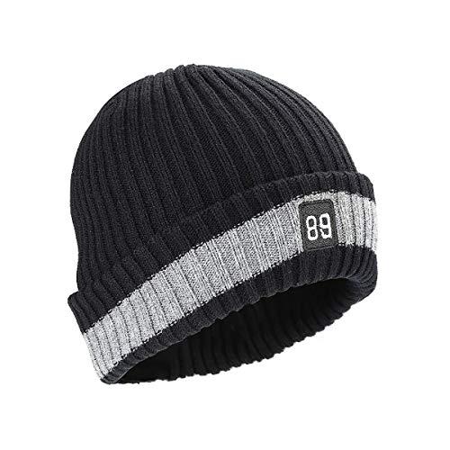 Kungber Wintermütze Herren, Warmer Weicher Unisex Beanie Mütze Strickmütze Acrylic Watch Hat Mütze für Damen Herren (Schwarz 2)