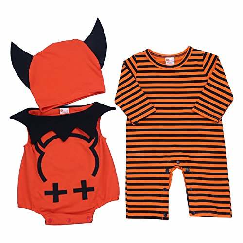 Strampelanzug Kostüme Für Halloween Babys (iiniim Unisex Neugeborenes Baby Strampler Bodysuit Jumpsuit Halloween Kostüm Outfits Bekleidungsset Gr.62-86 Orange 62-68/3-6)