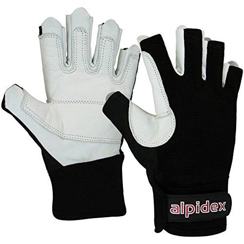 ALPIDEX Klettersteig-Handschuhe Black BOA Unisex Echtleder, Größe:M