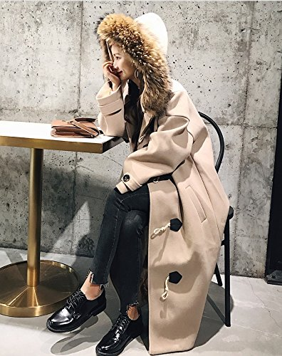 Xuanku Winter Woolen Jacket Female Long Section Loose Thick Thick Hair Collar Horns Deduction Woolen Coat Autumn And Winter
