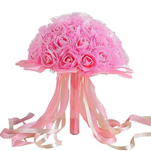 DIGZI Kunstblumen künstliche Blumen Kunstblumenstrauß Unechte Blumen, Wohnaccessoires Deko Pflanzen, Crystal Ribbon Rosen Brautjungfer Hochzeit Bouquet Bridal Künstliche Seidenblumen