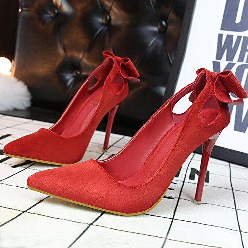 Asakuchi prua dolce scarpe scarpe con i tacchi alti con sottili tacco alto in pelle scamosciata cava appuntita red