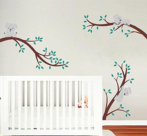 BDECOLL 3 Koalas tree Branches Wall Decal Wall Sticker Baby Nursery Decor Kids Room/Koala-Baum-Wandabziehbild/ Modernes Baby Nursery Decor (Brown) (Baum Koala)