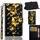 Ooboom Alcatel Pixi 4 5 Inch Hülle 3D Flip PU Leder Schutzhülle Handy Tasche Case Cover Ständer mit Trageschlaufe Magnetverschluss für Alcatel Pixi 4 5 Inch - Gold Schmetterling
