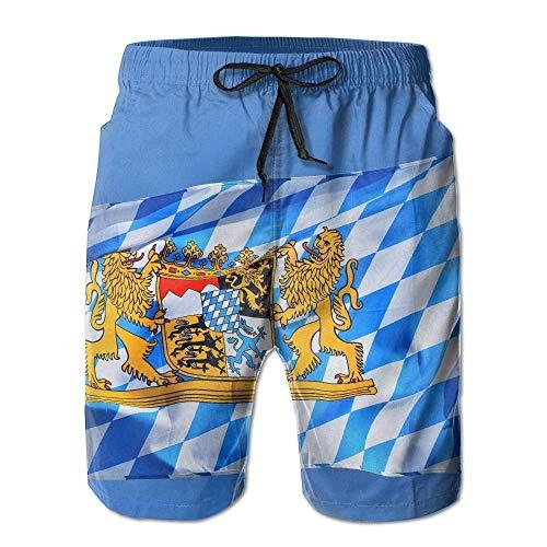 lears Bayern bayerische Flagge Männer/Jungen Casual Shorts Badehose Badebekleidung elastische Taille Strandhose mit Taschen, XXL -