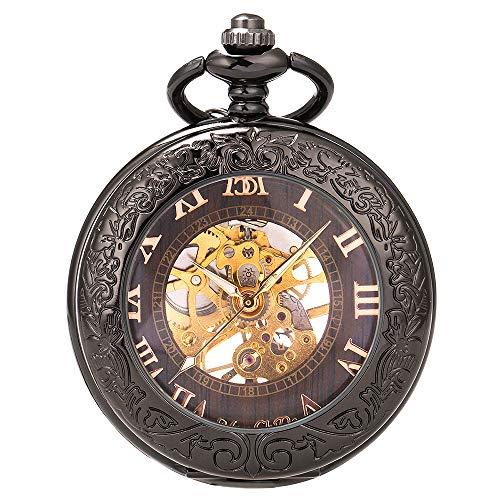 ManChDa® Retro Reloj de Bolsillo Hombre Mujer Lupa Especial Cazador/B