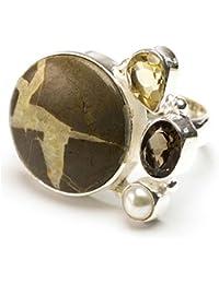 stargems (TM), perla Natural de Río, citrino y cuarzo ahumado, Jasper diseño único 925plata de ley anillo nosotros tamaño 7