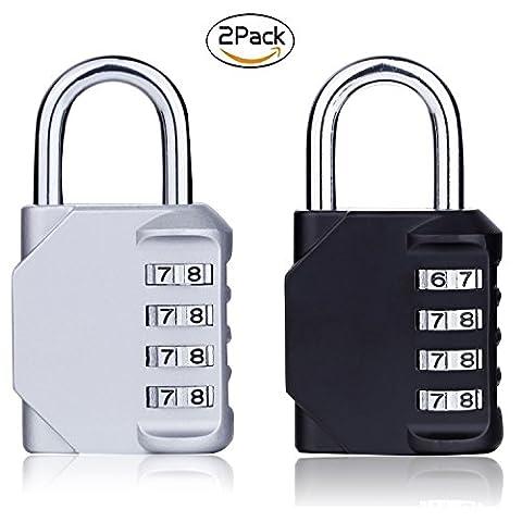 2 Pack Combination Padlock, Shovan Verrouillage combiné à 4 chiffres pour School Gym Locker, sac de sport, bagage, sac à dos, classeurs, boîte à outils, valise et rangement extérieur (noir et argenté)
