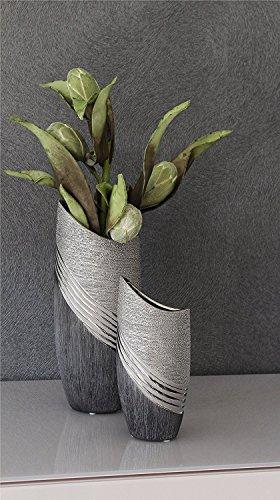 Moderne Dekovase Blumenvase Tischvase aus Keramik silber/grau Höhe 20 cm (Moderne Vase Und Geschenk)