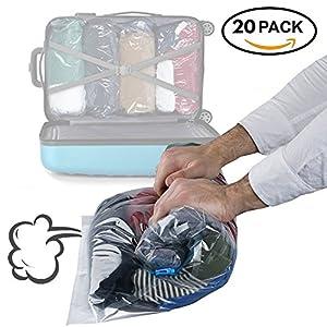 Bramble Paquet DE 20 Sacs de Rangement sous Vide - Double Fermetures Éclair - Enroulables à la Main - Le Solution Parfaite pour Gagner de l'Espace dans Un Sac Étanche