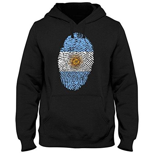Hoody Hoodie Kapuzenpulli Argentina Argentinien Fußball Trikot Fingerabdruck WM, Farbe:Schwarz;Größe:XXL (Russell Fußball-trikot)