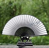 ZHJZ - Ventilador de mano plegable, diseño de flor de ciruelo