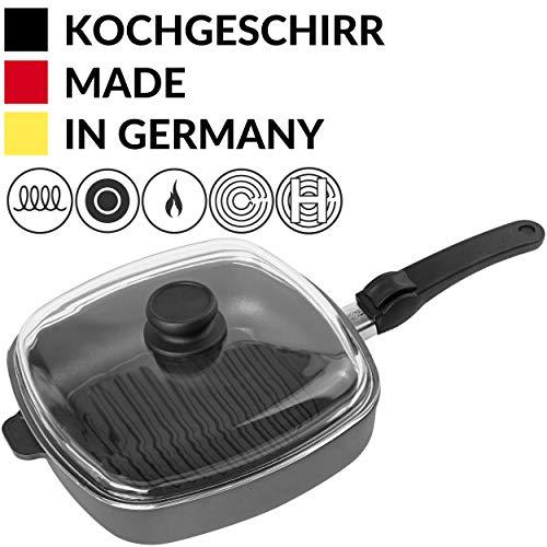 Hoffmann Steakpfanne mit Deckel 26 x 26 cm I Elektroherd Induktionsherd Ceranfeld Gasherd I Made in Germany I Backofenfest bis 280 Grad I Eckig I Glasdeckel I Ofen I Nutz-Bratfläche 21 x 21 cm