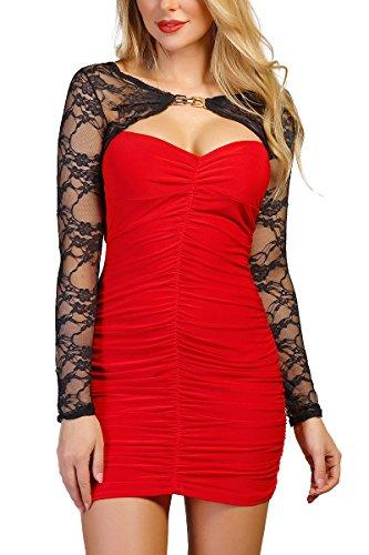 INFINIE PASSION - Bi-matière - Robe sexy rouge et noire Rouge