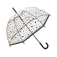 SMATI Automatic Umbrella Clear Dome Birdcage Stick Umbrella for Women