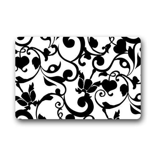 WAHA NIBUQT Fantastic Doormat Black and White Damask Pattern French Floral Swirls Door Mat Rug Indoor/Outdoor/Front Door/Bathroom Mats¡ê?Bedroom Doormat 23.6