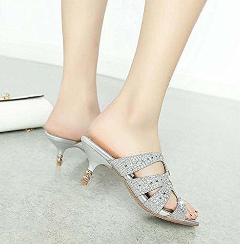 L&Y Peep Toe Pump Summer nuovo speciale tessuto Flash Hollow Mid tallone sandali pantofole diamante Banquet Scarpe Donne grandi dimensioni scarpe Silver