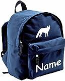 ShirtInStyle Kinder Rucksack Fuchs, mit Name veredelt, ideal für Kita, Farbe blau