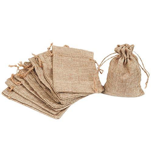 MINGZE 10 Stück Vintage Sackleinen Taschen, für Schmuck, Süßigkeiten, Hochzeit, Kunst und DIY Handwerk, Baby-Duschen, Festival-Anlässe - Party Favors, natürliche Farbe, 15 cm * 10 cm (Sackleinen-schmuck)