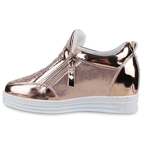 Damen Sneakers Keilabsatz Sneaker-Wedges Lack Metallic Schuhe Rose Gold