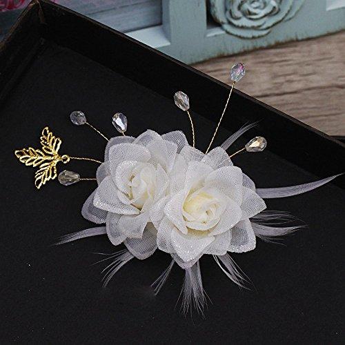Olici MDRW-Bridal Hochzeit Ballsaal Haarnadel Haarschmuck Rose Seidengarne Blumen Rosen Kristalle Federn Haarclips EIN