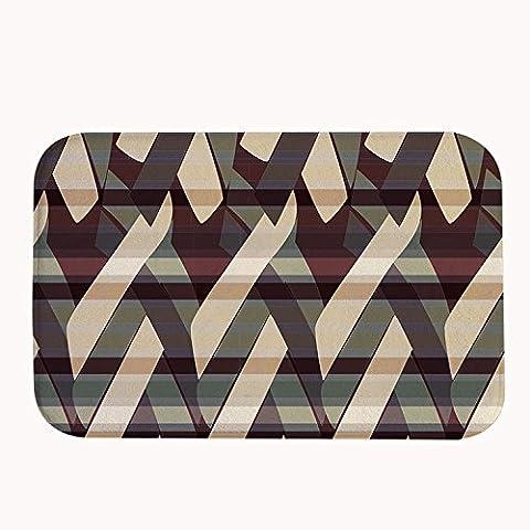 whiangfsoo geométrico rayas alfombrilla de baño puerta esteras marrón color, #01, 16