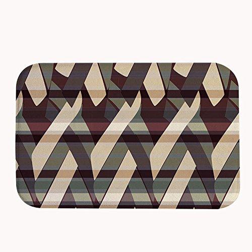 whiangfsoo geometrico Tappetino da bagno a strisce Zerbino colore: marrone, #01, 16