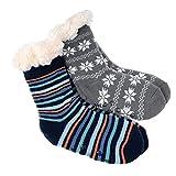 2 Paar Jungen Hütten Socken Kinder Home Socks Teddyfutter Kuschelsocken Lammfellimitat ABS-Sohle, Ringel/Grau, 24-27
