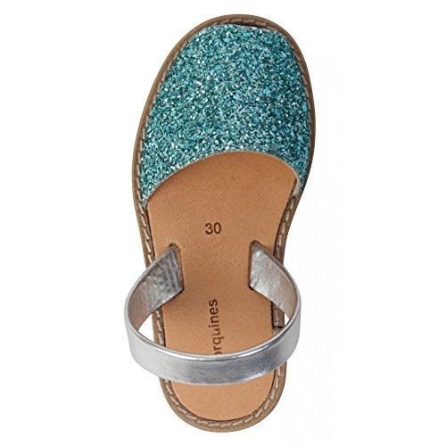 Sandales en cuir bleu clair à paillette Bleu