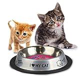 SILVER CAT KITTEN NON SLIP BOWL ANTI SKID FEEDING WATER FOOD METAL DISH TRAVEL PET