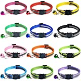 Tafeiya 12 PACK Reflective Cat Collars Quick Release Safety Buckle with Bell Adjustable19-32cm (Multi-colored)